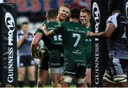 2 November 2019; Peter Robb of Connacht celebrates scoring a try with team mates during the Guinness PRO14 Round 5 match between Ospreys and Connacht at Liberty Stadium in Swansea, Wales. Photo by Chris Fairweather/Sportsfile