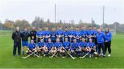 2 November 2019; The Scotland squad before the Senior Hurling Shinty International 2019 match between Ireland and Scotland at the GAA National Games Development Centre in Abbotstown, Dublin. Photo by Piaras Ó Mídheach/Sportsfile