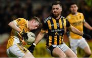 2 November 2019; Michael P O'Dowd of Clontibret O'Neills in action against Callum Cumiskey of Crossmaglen Rangers during the Ulster GAA Football Senior Club Championship Quarter-Final match between Crossmaglen Rangers and Clontibret O'Neills at Athletic Grounds in Armagh. Photo by Oliver McVeigh/Sportsfile
