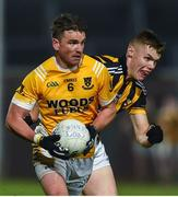 2 November 2019; Dessie Mone of Clontibret O'Neills in action against Oisin O'Neill of Crossmaglen Rangers during the Ulster GAA Football Senior Club Championship Quarter-Final match between Crossmaglen Rangers and Clontibret O'Neills at Athletic Grounds in Armagh. Photo by Oliver McVeigh/Sportsfile