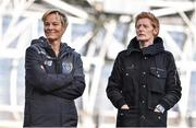 3 November 2019; Republic of Ireland women's manager Vera Pauw, left, with assistant coach Eileen Gleeson ahead of the Só Hotels FAI Women's Cup Final between Wexford Youths and Peamount United at the Aviva Stadium in Dublin. Photo by Ben McShane/Sportsfile