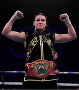 2 November 2019; Katie Taylor following her WBO Women's Super-Lightweight World title fight against Christina Linardatou at the Manchester Arena in Manchester, England. Photo by Stephen McCarthy/Sportsfile