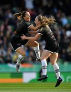 3 November 2019; Lauren Kelly of Wexford Youths, right, celebrates with team-mate Kylie Murphy after scoring her side's first goal during the Só Hotels FAI Women's Cup Final between Wexford Youths and Peamount United at the Aviva Stadium in Dublin. Photo by Seb Daly/Sportsfile