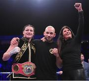 2 November 2019; Katie Taylor with her mother Bridget and trainer Ross Enamait following her WBO Women's Super-Lightweight World title fight against Christina Linardatou at the Manchester Arena in Manchester, England. Photo by Stephen McCarthy/Sportsfile