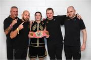 2 November 2019; Katie Taylor with, from left, cutman Ian Jumbo Johnson, trainer Ross Enamait, manager Brian Peters and Tomas Rohan following her WBO Women's Super-Lightweight World title fight against Christina Linardatou at the Manchester Arena in Manchester, England. Photo by Stephen McCarthy/Sportsfile