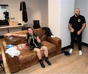 2 November 2019; Katie Taylor relaxed in her dressing room with trainer Ross Enamait following her WBO Women's Super-Lightweight World title fight against Christina Linardatou at the Manchester Arena in Manchester, England. Photo by Stephen McCarthy/Sportsfile