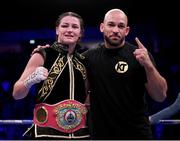 2 November 2019; Katie Taylor with her trainer Ross Enamait following her WBO Women's Super-Lightweight World title fight against Christina Linardatou at the Manchester Arena in Manchester, England. Photo by Stephen McCarthy/Sportsfile