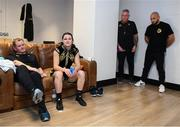 2 November 2019; Katie Taylor relaxed in her dressing room with manager Brian Peters, left, cutman Ian Jumbo Johnson and trainer Ross Enamait, right, following her WBO Women's Super-Lightweight World title fight against Christina Linardatou at the Manchester Arena in Manchester, England. Photo by Stephen McCarthy/Sportsfile