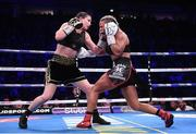 2 November 2019; Katie Taylor, left, and Christina Linardatou during their WBO Women's Super-Lightweight World title fight at the Manchester Arena in Manchester, England. Photo by Stephen McCarthy/Sportsfile