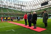 3 November 2019; President of Ireland Michael D Higgins prior to the Só Hotels FAI Women's Cup Final between Wexford Youths and Peamount United at the Aviva Stadium in Dublin. Photo by Stephen McCarthy/Sportsfile