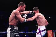 2 November 2019; Felix Cash, left, and Jack Cullen during their Commonwealth Middleweight title fight at the Manchester Arena in Manchester, England. Photo by Stephen McCarthy/Sportsfile