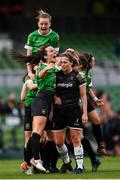 3 November 2019; Peamount United players celebrate their first goal scored by Karen Duggan as Edel Kennedy of Wexford Youths get caught up in the celebrations during the Só Hotels FAI Women's Cup Final between Wexford Youths and Peamount United at the Aviva Stadium in Dublin. Photo by Stephen McCarthy/Sportsfile
