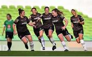 3 November 2019; Lauren Kelly of Wexford Youths, second from right, celebrates with team-mates after scoring her side's second goal during the Só Hotels FAI Women's Cup Final between Wexford Youths and Peamount United at the Aviva Stadium in Dublin. Photo by Ben McShane/Sportsfile