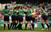3 November 2019; Peamount United players celebrate their side's first goal, scored by Karen Duggan, during the Só Hotels FAI Women's Cup Final between Wexford Youths and Peamount United at the Aviva Stadium in Dublin. Photo by Ben McShane/Sportsfile