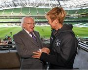 3 November 2019; President of Ireland Michael D Higgins meets Republic of Ireland women's manager Vera Pauw during the Só Hotels FAI Women's Cup Final between Wexford Youths and Peamount United at the Aviva Stadium in Dublin. Photo by Stephen McCarthy/Sportsfile
