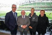 3 November 2019; President of Ireland Michael D Higgins with Republic of Ireland manager Mick McCarthy, left, Republic of Ireland women's manager Vera Pauw and assistant manager Eileen Gleeson, right, during the Só Hotels FAI Women's Cup Final between Wexford Youths and Peamount United at the Aviva Stadium in Dublin. Photo by Stephen McCarthy/Sportsfile