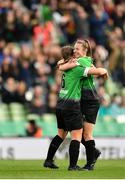 3 November 2019; Eleanor Ryan Doyle of Peamount United, right, is congratulated by team-mate Lucy McCartan after scoring her side's second goal during the Só Hotels FAI Women's Cup Final between Wexford Youths and Peamount United at the Aviva Stadium in Dublin. Photo by Seb Daly/Sportsfile