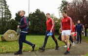 3 November 2019; Con O'Callaghan of Cuala and his team-mates prior to the AIB Leinster GAA Hurling Senior Club Championship Quarter-Final between St Mullins and Cuala at Netwatch Cullen Park in Carlow. Photo by Matt Browne/Sportsfile