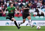 3 November 2019; Rianna Jarrett of Wexford Youths has a shot on goal despite the attention of Claire Walsh of Peamount United during the Só Hotels FAI Women's Cup Final between Wexford Youths and Peamount United at the Aviva Stadium in Dublin. Photo by Ben McShane/Sportsfile