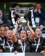 3 November 2019; Wexford Youths captain Kylie Murphy lifts the cup following the Só Hotels FAI Women's Cup Final between Wexford Youths and Peamount United at the Aviva Stadium in Dublin. Photo by Stephen McCarthy/Sportsfile