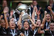 3 November 2019; Wexford Youths captain Kylie Murphy lifts the cup as team-mates celebrate following the Só Hotels FAI Women's Cup Final between Wexford Youths and Peamount United at the Aviva Stadium in Dublin. Photo by Stephen McCarthy/Sportsfile