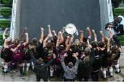 3 November 2019; Wexford Youths Captain Kylie Murphy lifts the trophy following the Só Hotels FAI Women's Cup Final between Wexford Youths and Peamount United at the Aviva Stadium in Dublin. Photo by Michael P Ryan/Sportsfile