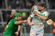 3 November 2019; Darragh Corcoran of Ballyhale Shamrocks is tackled by Paddy Dowdall of Clonkill during the AIB Leinster GAA Hurling Senior Club Championship Quarter-Final match between Clonkill and Ballyhale Shamrocks at TEG Cusack Park in Mullingar, Westmeath. Photo by Ramsey Cardy/Sportsfile