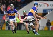 3 November 2019; James 'JD' Devaney of Borris-Ileigh under pressure from Jack Loughnane, left, and Fergal Hayes of Kiladangan on his way to score a goal, in the 28th minute, during the Tipperary County Senior Club Hurling Championship Final match between  Borris-Ileigh and Kiladangan at Semple Stadium in Thurles, Tipperary. Photo by Ray McManus/Sportsfile