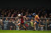3 November 2019; Dessie Hutchinson of Ballygunner in action against Noel Purcell of Sixmilebridge during the AIB Munster GAA Hurling Senior Club Championship Quarter-Final match between Sixmilebridge and Ballygunner at Sixmilebridge in Clare. Photo by Diarmuid Greene/Sportsfile