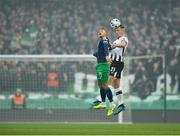 3 November 2019; Daniel Cleary of Dundalk in action against Graham Burke of Shamrock Rovers during the extra.ie FAI Cup Final between Dundalk and Shamrock Rovers at the Aviva Stadium in Dublin. Photo by Seb Daly/Sportsfile