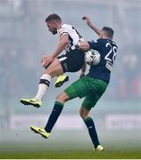 3 November 2019; Joey O'Brien of Shamrock Rovers collides withe Dane Massey of Dundalk during the extra.ie FAI Cup Final between Dundalk and Shamrock Rovers at the Aviva Stadium in Dublin. Photo by Ben McShane/Sportsfile