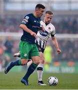 3 November 2019; Aaron Greene of Shamrock Rovers in action against Seán Hoare of Dundalk during the extra.ie FAI Cup Final between Dundalk and Shamrock Rovers at the Aviva Stadium in Dublin. Photo by Ben McShane/Sportsfile