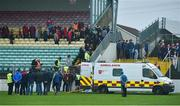 3 November 2019; An ambulance on the pitch attends to a member of the St Mullins backroom staff during the AIB Leinster GAA Hurling Senior Club Championship Quarter-Final between St Mullins and Cuala at Netwatch Cullen Park in Carlow. Photo by Matt Browne/Sportsfile