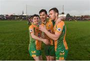 3 November 2019; Corofin players, left to right, Gavin Burke, Ian Burke, and Ross Mahon, celebrate after the Galway County Senior Club Football Championship Final Replay match between Corofin and Tuam Stars at Tuam Stadium in Galway. Photo by Daire Brennan/Sportsfile