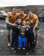 3 November 2019; Corofin players, from left to right, Ronan Steede, Micheál Lundy, and Gary Sice, celebrate with the McLoughlin brothers, from left to right, Matthew, aged 8, Tom, aged 9, and Luke, aged 6, after the Galway County Senior Club Football Championship Final Replay match between Corofin and Tuam Stars at Tuam Stadium in Galway. Photo by Daire Brennan/Sportsfile