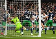 3 November 2019; Brian Gartland of Dundalk sees his header on goal saved by Alan Mannus of Shamrock Rovers during the extra.ie FAI Cup Final between Dundalk and Shamrock Rovers at the Aviva Stadium in Dublin. Photo by Seb Daly/Sportsfile