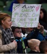 3 November 2019; A young Shamrock Rovers supporter holds up a sign asking for the shirt of Aaron Greene during the extra.ie FAI Cup Final between Dundalk and Shamrock Rovers at the Aviva Stadium in Dublin. Photo by Ben McShane/Sportsfile