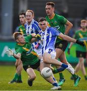 3 November 2019; Colm Basquel of Ballyboden St Enda's has a shot on goal despite the best efforts of Adam Fallon of Thomas Davis during the Dublin County Senior Club Football Championship Final match between Thomas Davis and Ballyboden St Enda's at Parnell Park in Dublin. Photo by Brendan Moran/Sportsfile