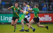 3 November 2019; Michael Darragh MacAuley of Ballyboden St Enda's in action against Ryan Deegan and Cian Murphy of Thomas Davis during the Dublin County Senior Club Football Championship Final match between Thomas Davis and Ballyboden St Enda's at Parnell Park in Dublin. Photo by Brendan Moran/Sportsfile