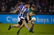 3 November 2019; Michael Darragh MacAuley of Ballyboden St Enda's in action against Peter Quinn of Thomas Davis during the Dublin County Senior Club Football Championship Final match between Thomas Davis and Ballyboden St Enda's at Parnell Park in Dublin. Photo by Brendan Moran/Sportsfile
