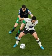 3 November 2019; Patrick Hoban of Dundalk in action against Gary O'Neill of Shamrock Rovers during the extra.ie FAI Cup Final between Dundalk and Shamrock Rovers at the Aviva Stadium in Dublin. Photo by Michael P Ryan/Sportsfile