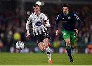 3 November 2019; Daniel Kelly of Dundalk in action against Neil Farrugia of Shamrock Rovers during the extra.ie FAI Cup Final between Dundalk and Shamrock Rovers at the Aviva Stadium in Dublin. Photo by Ben McShane/Sportsfile