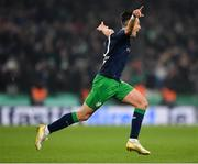 3 November 2019; Aaron McEneff of Shamrock Rovers celebrates after scoring his side's first goal during the extra.ie FAI Cup Final between Dundalk and Shamrock Rovers at the Aviva Stadium in Dublin. Photo by Seb Daly/Sportsfile