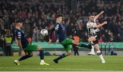 3 November 2019; Michael Duffy of Dundalk shoots to score his side's first goal during the extra.ie FAI Cup Final between Dundalk and Shamrock Rovers at the Aviva Stadium in Dublin. Photo by Stephen McCarthy/Sportsfile