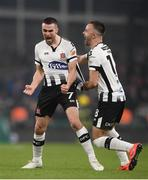 3 November 2019; Michael Duffy, left, of Dundalk celebrates with team-mate Robbie Benson after scoring his side's first goal during the extra.ie FAI Cup Final between Dundalk and Shamrock Rovers at the Aviva Stadium in Dublin. Photo by Stephen McCarthy/Sportsfile