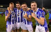 3 November 2019; Ballyboden St Enda's players, from left, Brian Bobbett, Shane Clayton, Warren Egan and Kieran Kennedy celebrate after the Dublin County Senior Club Football Championship Final match between Thomas Davis and Ballyboden St Enda's at Parnell Park in Dublin. Photo by Brendan Moran/Sportsfile