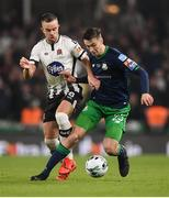 3 November 2019; Neil Farrugia of Shamrock Rovers and Robbie Benson of Dundalk during the extra.ie FAI Cup Final between Dundalk and Shamrock Rovers at the Aviva Stadium in Dublin. Photo by Stephen McCarthy/Sportsfile