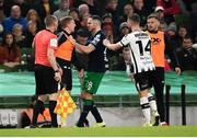 3 November 2019; Dundalk substitute John Mountney and Joey O'Brien of Shamrock Rovers confront each other during the extra.ie FAI Cup Final between Dundalk and Shamrock Rovers at the Aviva Stadium in Dublin. Photo by Stephen McCarthy/Sportsfile