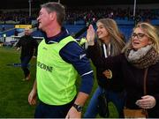 3 November 2019; Borris-Ileigh manager Johnny Kelly is congratulated by his daughter Alanah and his wife Sinead after the Tipperary County Senior Club Hurling Championship Final match between  Borris-Ileigh and Kiladangan at Semple Stadium in Thurles, Tipperary. Photo by Ray McManus/Sportsfile