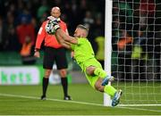 3 November 2019; Alan Mannus of Shamrock Rovers saves a penalty from Daniel Cleary of Dundalk during the extra.ie FAI Cup Final between Dundalk and Shamrock Rovers at the Aviva Stadium in Dublin. Photo by Seb Daly/Sportsfile